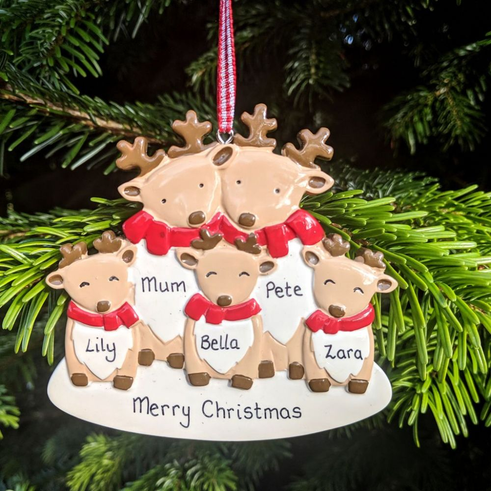Personalised Reindeer Family of 5  Christmas Tree Decoration